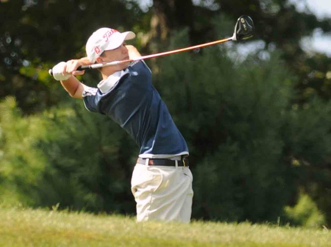 Christian Boyd of Washington tees off duing the Eastern Panhandle Athletic Conference golf tournament on Tuesday. (Journal photo by Ron Agnir)