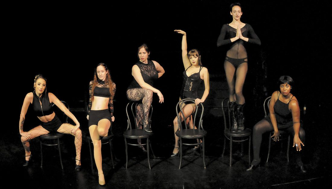 From left: Showgirls Taylor Miller, Delaney Harold, Natasha Fields, Caitlin Utright, Eliza Barr and Whitney Bowie in Chicago: Season Show 1 at the Apollo Civic Theatre in Martinsburg. (Journal Photo by Ron Agnir)
