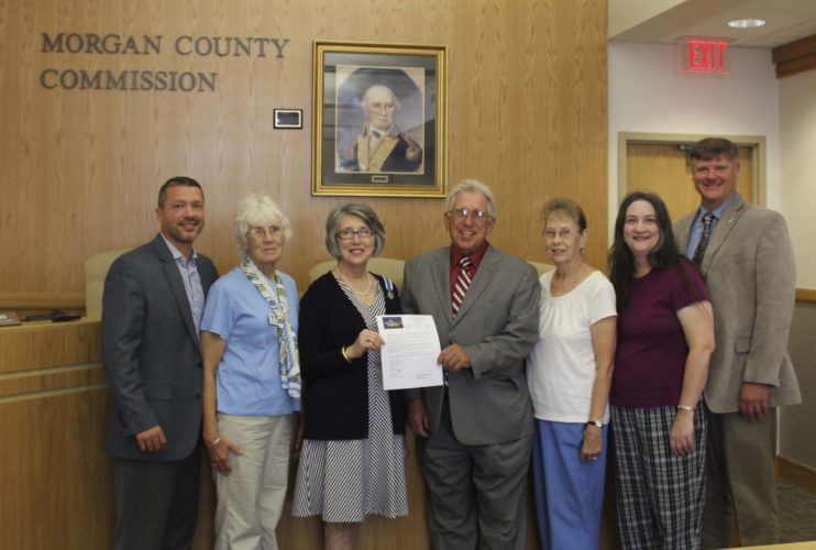 County Commissioners Joel Tuttle, Bob Ford, Ken Reed stand with DAR Ye Towne of Bath chapter members Gail Potter, Linda McGraw, Loretta Brown, and Tricia Strader to declare Sept. 17-23 as Constitution Week in Morgan County. (Submitted photo County Commissioners Joel Tuttle, Bob Ford, Ken Reed stand with DAR Ye Towne of Bath chapter members Gail Potter, Linda McGraw, Loretta Brown, and Tricia Strader to declare Sept. 17-23 as Constitution Week in Morgan County. (Submitted photo)