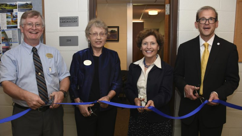 Pictured cutting the ribbon for Shepherd University's new psychology lab are, from left, Dr. Larry Daily, chair, Department of Psychology; Dr. Ann Marie Legreid, dean, College of Social and Behavioral Sciences; Dr. Mary J.C. Hendrix, Shepherd president; and Dr. Scott Beard, acting provost. (Photo courtesy of Shepherd University)