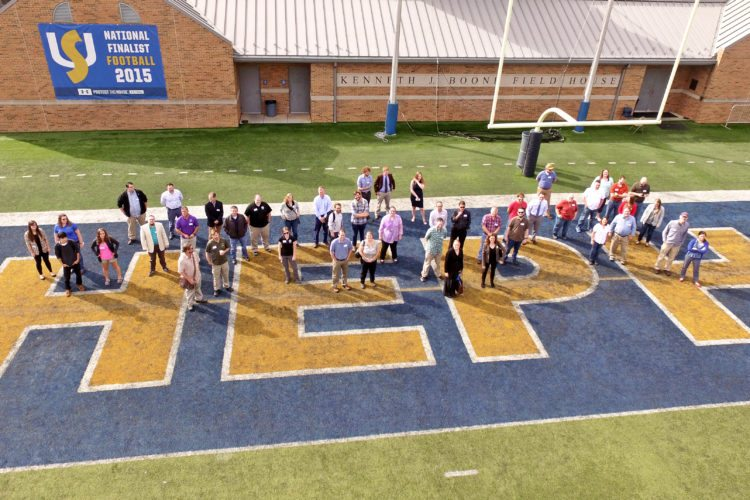 GIS professionals and Shepherd students pose for a group picture. (Photo courtesy of Shepherd University)