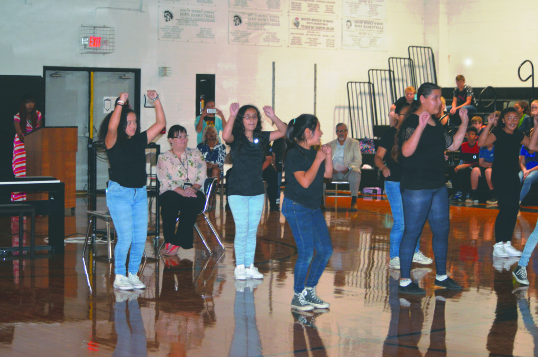 """Journal photo by Adranisha Stephens   """"La Chiquitin Misonera,"""" an all Latina student dance troupe from Berkeley County dancing, at South Middle School for Hispanic Heritage celebration."""