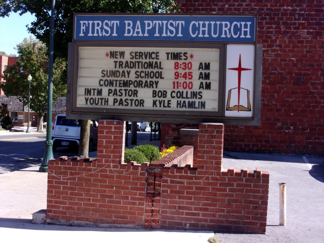 Journal photo by John McVey The First Baptist Church on West King Street in Martinsburg wants to replace its old sign with a new digital sign, but it ran into problems getting permission because it is in the city's historic district.