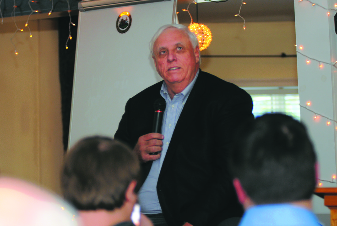 04 JusticeInBS2 ra 10-03-17 WV Govenor Jim Justice talks about the Road to Prosperity Bond Tuesday afternoon in Berkeey Springs. (Journal Photo by Ron Agnir)