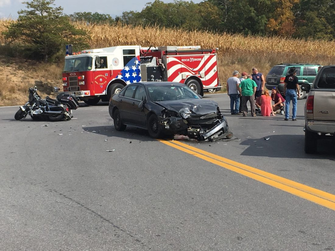 A motorcycle and car were involved in an accident on Rt. 9 and Mountain Lake Road in Hedgesville. Emergency crews are responding. (Journal photo by Ron Agnir)