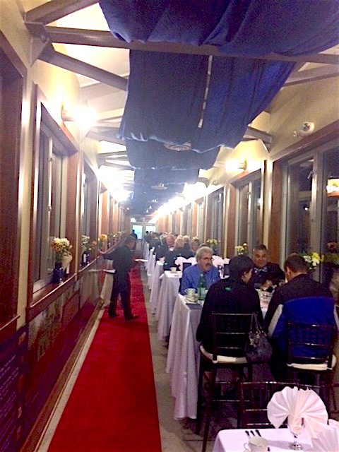 Last year's Building Steam Dinner Train fundraiser. The Caperton Train Station pedestrian bridge is transformed to resemble an authentic B&O Railroad dining car. (Submitted photo)
