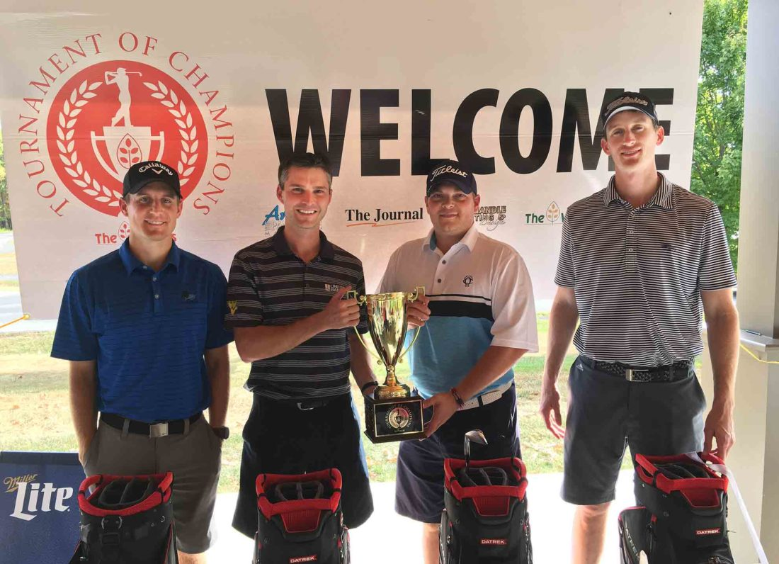 Journal photo by Craig Bartoldson Members of the winning team in the inaugural Tournament of Champions golf tournament  include Allen Kees, Terry Mumaw, Peter Warren and David Langford. The foursome, playing for the Martinsburg-Berkeley County Chamber of Commerce, shot a round of 55.