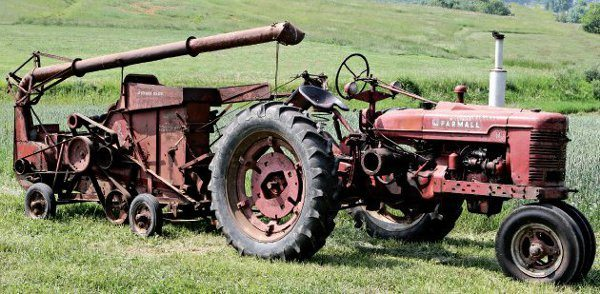 The museum's Farmall Model H and McCormick-Deering No. 2 steel husker shredder look perfectly at home from this vantage point on Apple Pie Ridge. (Image courtesy of  farmcollector.com)