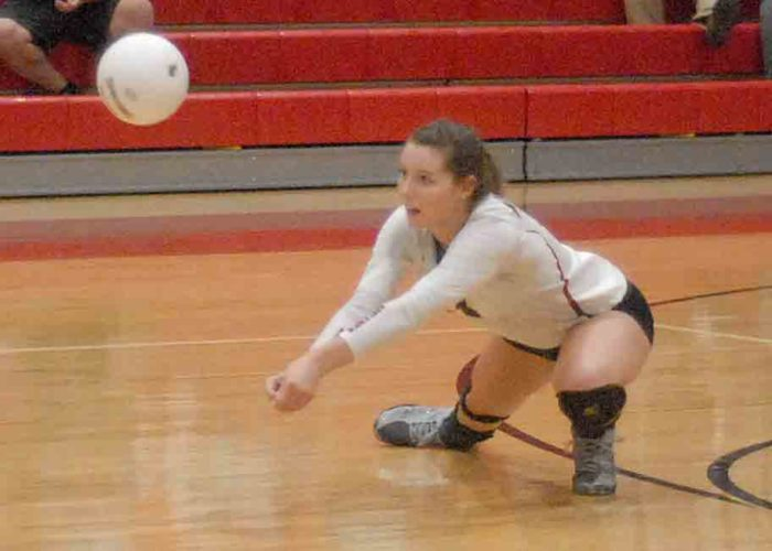 Musselman's Haley Shelton sets up for a dig during the Applemen's matchup against Spring Mills on Tuesday.