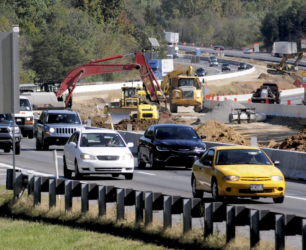 Journal photo by Ron Agnir High traffic amd construction along I-81 near the W.Va./Md. border by the I-81 southbound rest stop Wednesday afternoon. (Journal photo by Ron Agnir)