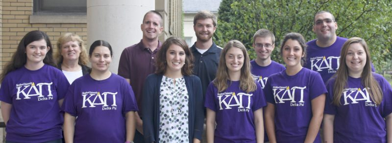Members of Shepherd University's Delta Psi chapter of Kappa Delta Pi Education International Honor Society include, front row (l. to r.) Hannah French, Martinsburg; Charity Farrow, Berkeley Springs; Ashley Wilkins, Baker; Jillian O'Connell, Martinsburg; Stephanie Busey, Gerrardstown; and Jayna Kackley, Martinsburg. Back row, Dr. LeAnn Johnson, assistant professor of education; Connor Herndon, Clear Spring, Maryland; Bradley Davidson, Manchester, Maryland; Garrett O'Connell, Martinsburg; and Thomas Kozak, Harpers Ferry. (Photo courtesy of Shepherd University)