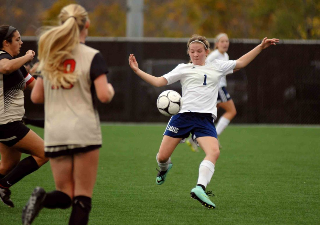 Journal photo by Rick Kozlowski Hedgesville's Julie Vielleux kicks the ball against University in the Class AAA state semifinals.