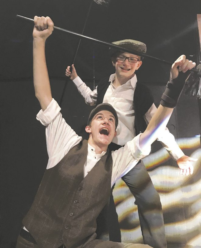 Donovan Bakin (Bert) in the foreground and in the back Chris Ortwein (Chimney Sweep in the Black Youth Arts Center Youth Theater Production Workshops of Mary Poppins Jr. Nov. 10-12 and 17-19. (Submitted photos)