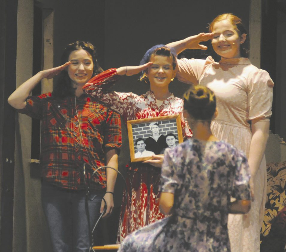 Kendall Snyder (Tood), Paige Fields (Sybil), Liv Shriver (Weetsie)... and in the foreground - Monica Power (Addie Mae) take a picture for the New Orleans Newspaper Times Picayune  in The Cover of Life at Spring Mills High School by The Cardinal Players Drama Club  (Journal Photo by Ron Agnir)