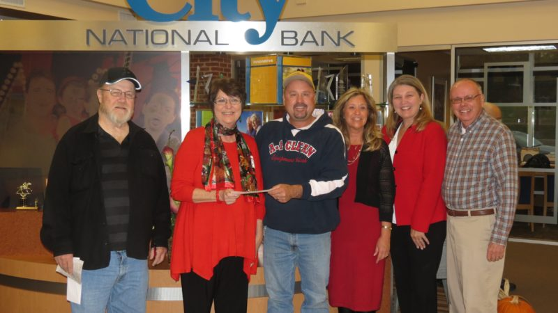 Christmas Cash For Kids receives its first donations for the 2017 campaign from the Martinsburg Moose Lodge 120 and City National Bank. Pictured from left: Terry Ways, Moose Lodge 120 administrator; Becky Linton, City National Bank Regional Manager & Christmas Cash for Kids program director; Chris Nicewarner, Moose Lodge 120 treasurer; Kathy Bradley, DHHR; Penny Porter, United Way of the Eastern Panhandle executive director; and Rodney Woods, Moose Lodge 120 trustee. (Submitted photo)