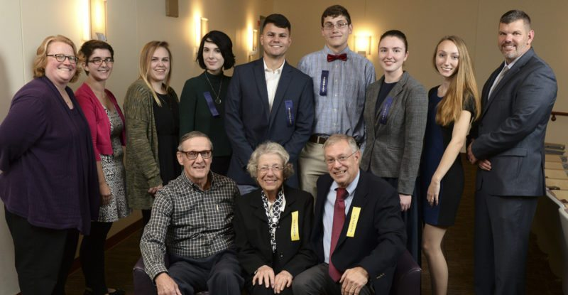 Recipients of the James and Katherine Moler Academic Scholarship pose with Shepherd University Foundation board members. Pictured front row (l. to r) are Al Lueck, Betty Lowe, and David Newlin; back row, Professor Heidi Hanrahan, Claire Tryon, Hailey Sparks, Ashley Fritsch, Christopher Hussion, Kevin Turner, Linnea Meyer, Erica Robinson, and Christopher Colbert. (Photo courtesy of Shepherd University)