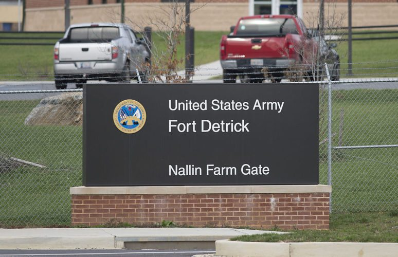 Sign near one of the entrance gates to Ft. Detrick, Maryland. (Photo courtesy of Frederick News-Post)