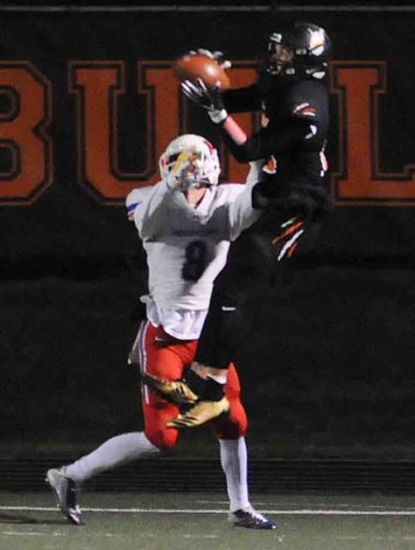 Teddy Marshall of Martinsburg goes up to haul in a touchdown pass in last week's win. (Journal photo by Ron Agnir)