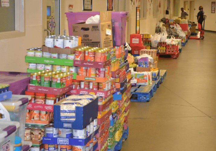 Some of the four tons of food contributed to the 2017 food drive. (Submitted photo)