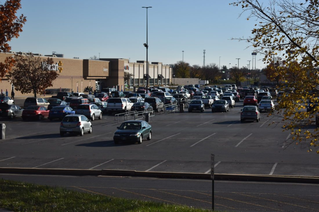 Journal photo by Clarissa Cottrill Cars fill the parking lot at Walmart on Foxcroft Avenue on Nov. 23