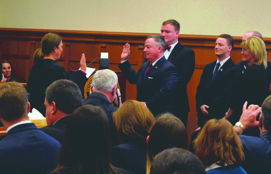 Journal photo by Kelsie LeRose United States Attorney for the Northern District of West Virginia  Bill Powell takes his formal oath of office Friday at the W. Craig Broadwater Federal Building and United States Courthouse in Martinsburg.