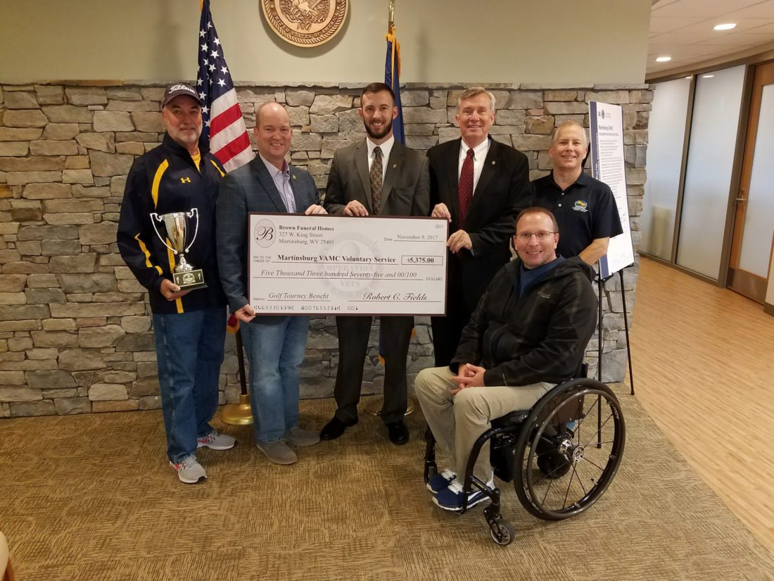 Submitted photo Brown Funeral Home recently hosted the Operation Rec Fore Vets golf tournament and donated more than $5,000 to the Martinsburg Veterans Affairs Medical Center.