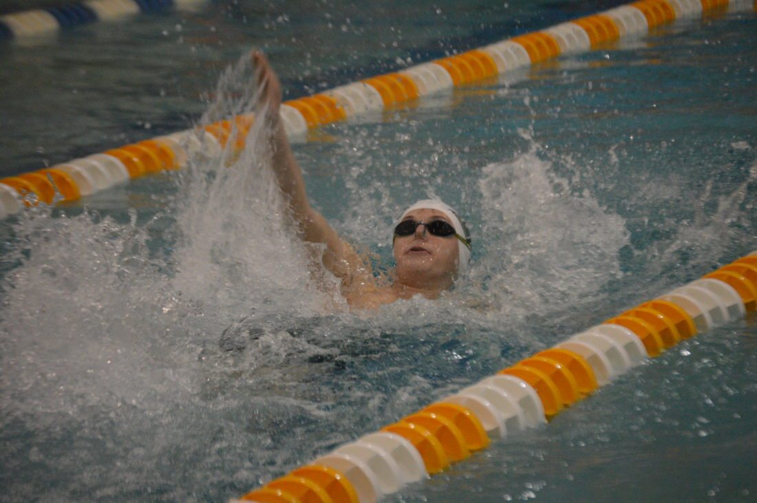 Journal photo by Jessica Manuel-Wilt Musselman's Molly Hull competes in the 100-yard butterfly during a quad meet onSaturday in Shepherdstown.