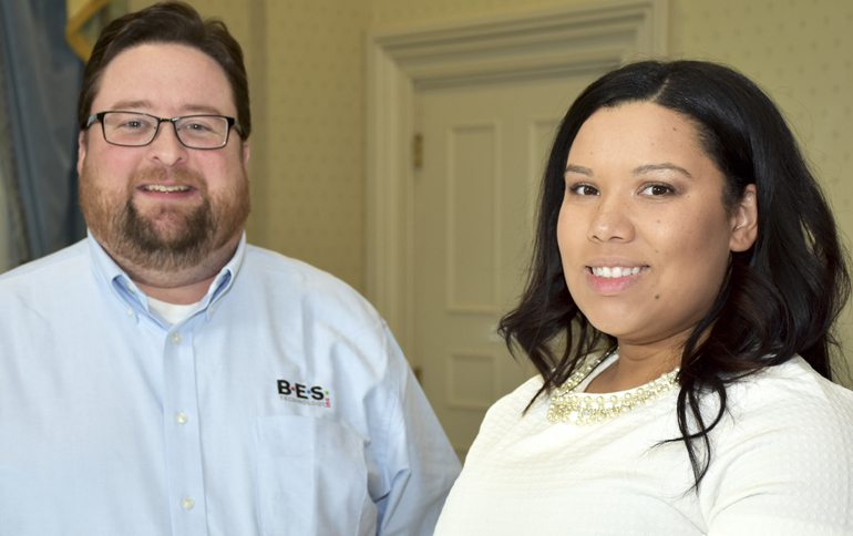 Paul Buede, BES Technology CEO and cofounder, and Keisha Burns, a computer information technology major from Hedgesville and IEEE student branch vice president. (Photo courtesy of Shepherd University)