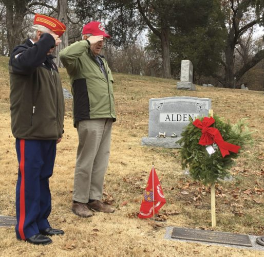 Marines Robert Wade, left, and Tim Murphy, right, render honors at the gravesite of Marine Wesley Gift in St. Peter's Cemetery, Harpers Ferry, after placement of a holiday wreath and Marine Corps flag as they had previously done for the other eight Marines buried there. (Submitted photo)