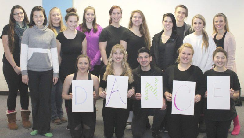 From left, (front) Meredith Garner, Sarah Lemley, Chad Grubb, Callie Carroll, Carly Balog, (standing), Emily Davis, Albina Gilmieva, Kristen O'Neil, Isabella Yakicic, Hannah Phillips, Amanda Tamplen, Elizabeth Conley, Calandra Riggle, Dan White, Rebecca Fryman and Alexandra Russo. (Submitted photo)