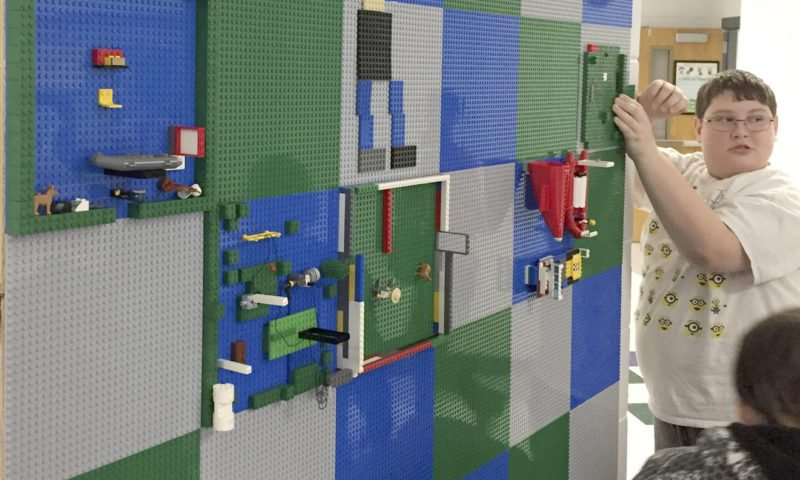 Building on the Lego Wall at Eagle School