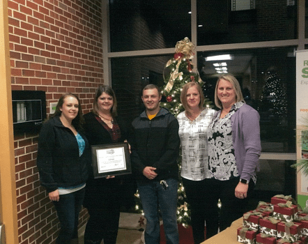 Kayla Bradford, daughter of Sheila; Sarah Butler, scholarship recipient; Micheal Spangler, son of Sheila; Stefanie Longerbeam, sister and Suzanna Brady, sister. (Submitted photo)