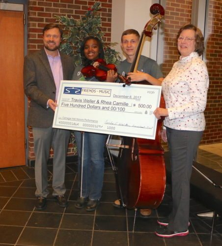 From left are Andew McMillan, Friends of Music board member, Rhea Ming, Travis Weller, and Friends of Music President Linda Walker. (Submitted photo)
