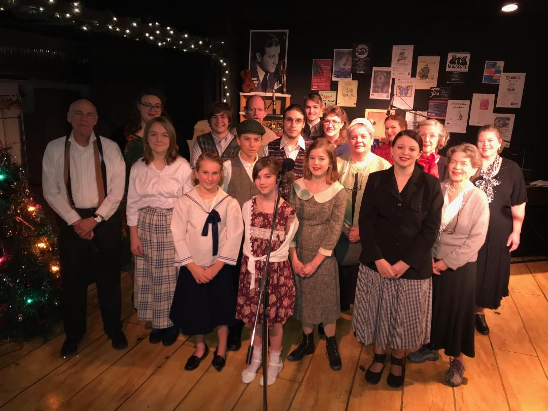 The cast of 'The Hunukkah Goblins' pose at the set for the Ice House production. (Submitted photo)