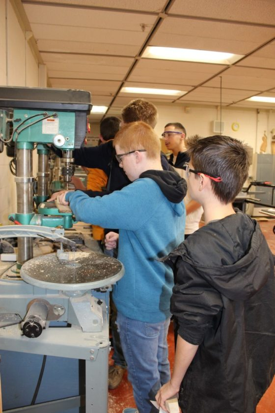 Submitted photo Woodshop  students work on projects during class at Hedgesville High School.