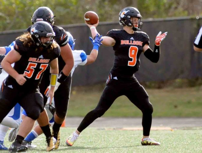 Martinsburg quarterback Tyson Bagent is the recipient of the J.R. House Award as the state's top quarterback after leading the Bulldogs to a second straight undefeated season and state championship. (Journal photo by Ron Agnir)