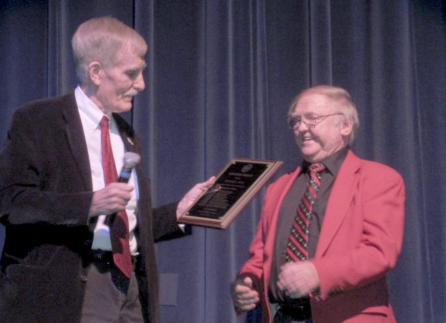 "Del. John Overington, left, presents the ""Winners Award"" to Michael Noll at the Apollo Civic Theatre. (Submitted photo)"