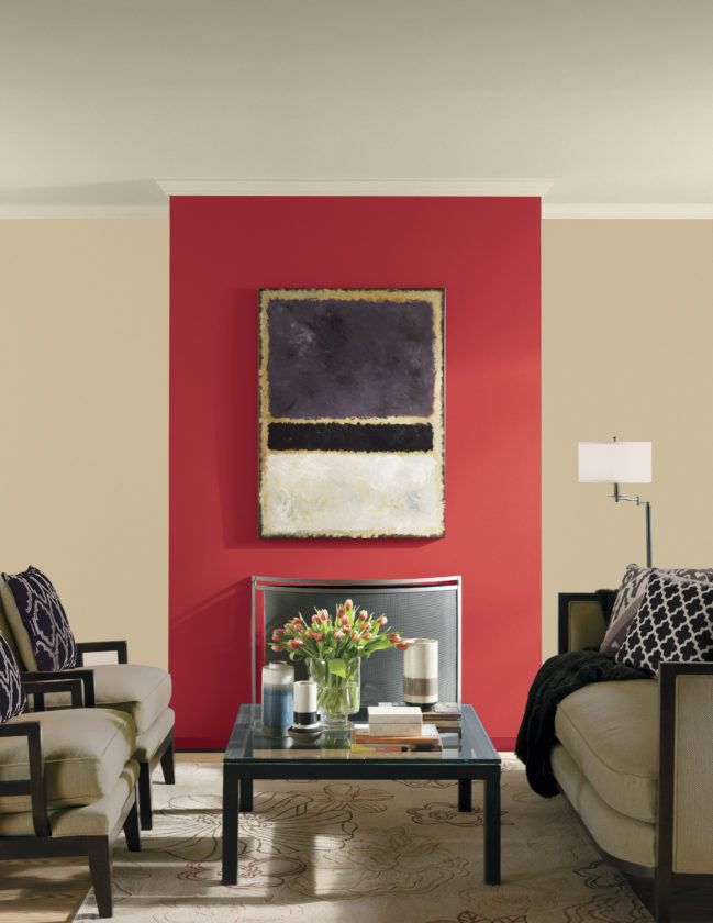 PPG Paints' Red Gumball paint color on the wall of a room. Red Gumball packs a stylish punch; use on an accent wall or go all out and do the whole room. The vibrancy of these type of colors works well in any room; in small spaces they create an intimate, cozy environment, while in larger rooms they can provide drama and energy. (AP photo)