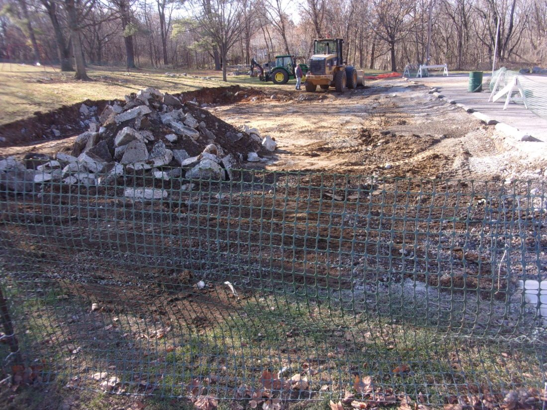 Journal photo by John McVey Demolition of the old Norwalk pavilion next to the Tuscarora Creek in War Memorial Park was completed this week. A federal matching grant is funding new picnic  shelters to replace the Norwalk pavilion and a pavilion at P.O. Faulkner Park.