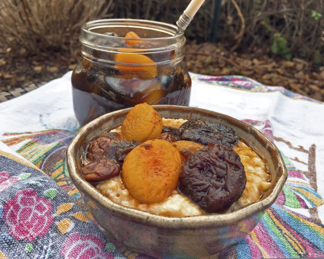 Fruit compote, also known as stewed fruit, is a combination of dried plums, apricots, cherries and a tiny bit of minced crystallized ginger, that stays good in the refrigerator for a very long time. (AP Photo)