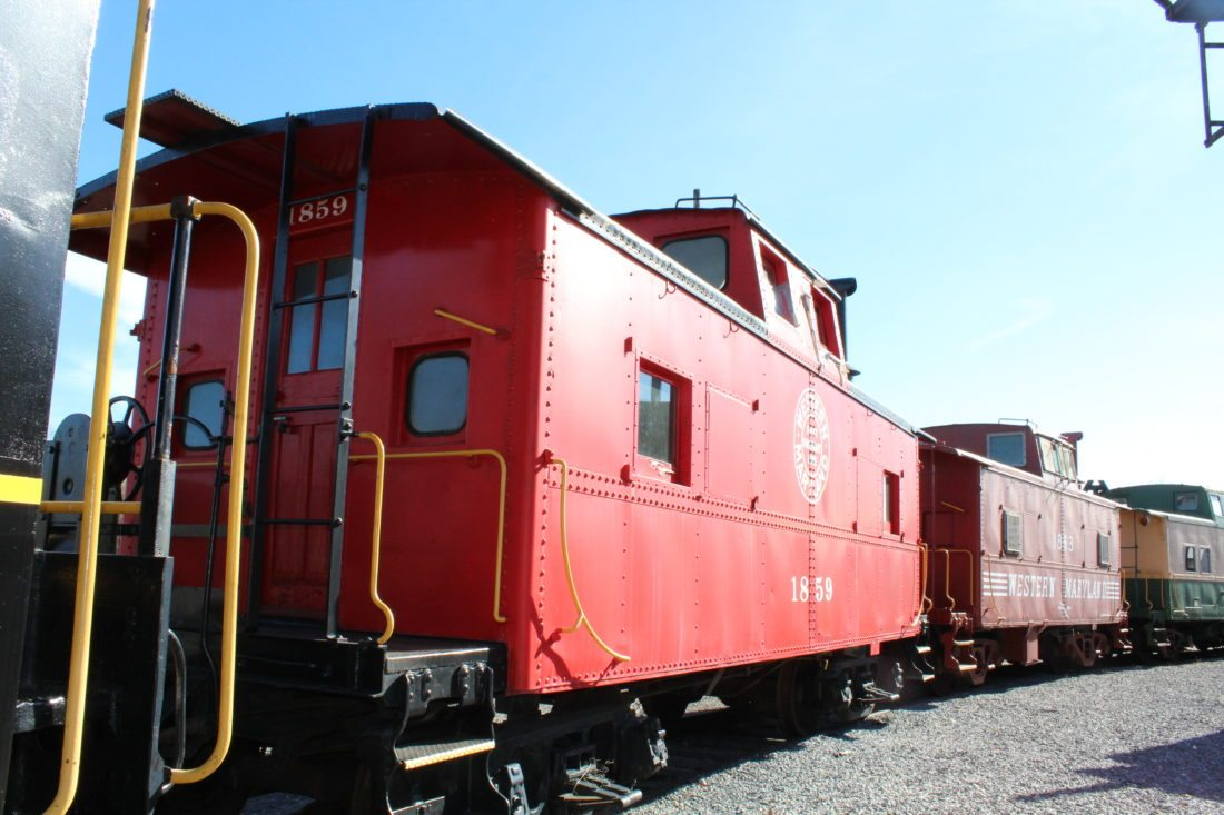 Railroad cars outside the museum are in the process of restoration.(Journal photo by Tricia Lynn Strader)