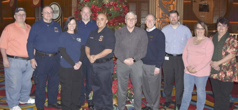 Local Fire and Rescue company members receive a $14,000 donation at the Hollywood Casino. (Submitted photo)