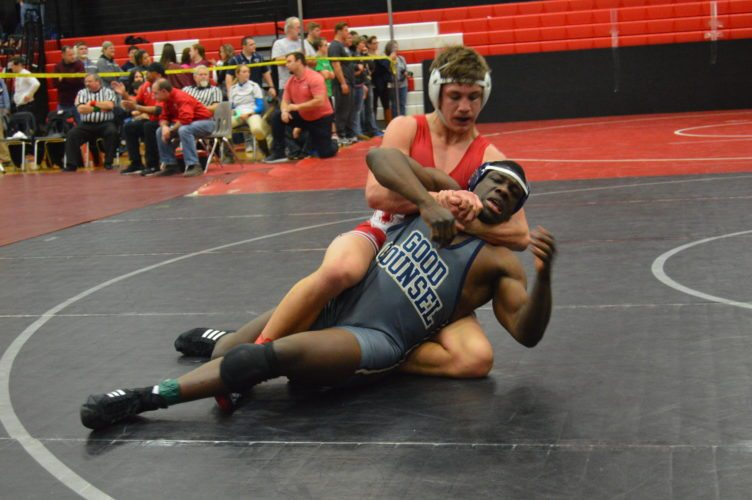 Washington's Jace Bradbury has control of Alwyn Taylor of Good Counsel during a bout at 182 pounds at the NorthHagerstown Hub Cup. Bradbury won by pin. (Journal photo by Jessica Manuel-Wilt)