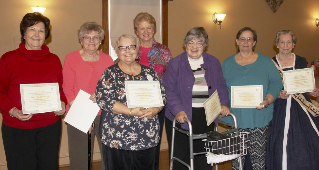 Pictured, from left, are Janet Martin, Nettie Atkinson, Pat Sturman, Susan Sanders, Erma Evans, Robin Lizama, BetteAnne Shephard, who are accepting award certificates for their clubs. (Submitted photo)