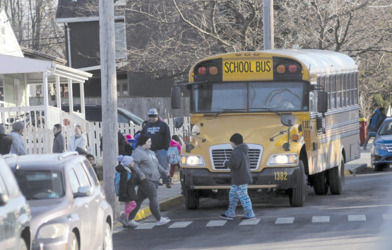 A Jefferson County School bus at Ranson Elementary School Wednesday. (Journal photo by Ron Agnir)