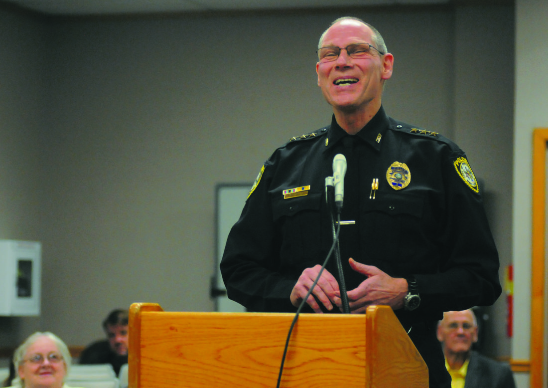 Martinsburg Police Chief Maury Richards speaks during a presentation on the Martinsburg Initiative Grant Funding and Program Update  at the City of Martinsburg Regular City Council Meeting Thursday evening. (Journal Photo by Ron Agnir)