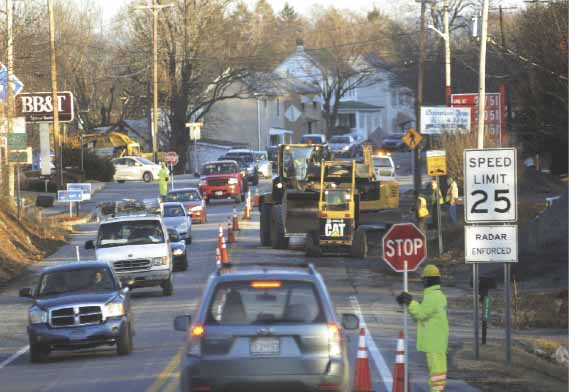 Traffic along Route 45, Martinsburg Pike, leading into Shepherdstown is backed up as workers appear to be installing a new pipeline on Monday afternoon. (Journal photo by Ron Agnir)