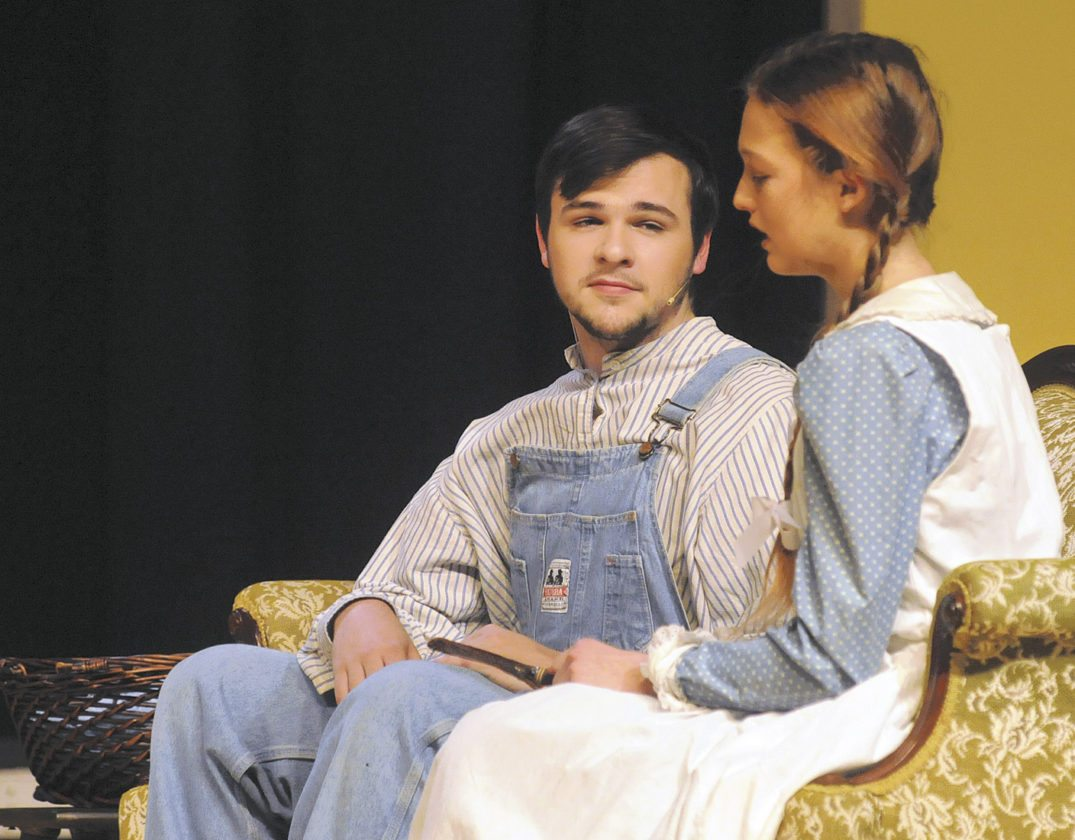 Matthew Cuthbert. ( Nathan Sparks) talks with Anne Shirley (Monica Power) in Anne of Green Gables at the SMHS Theatre.  (Journal Photo by Ron Agnir)