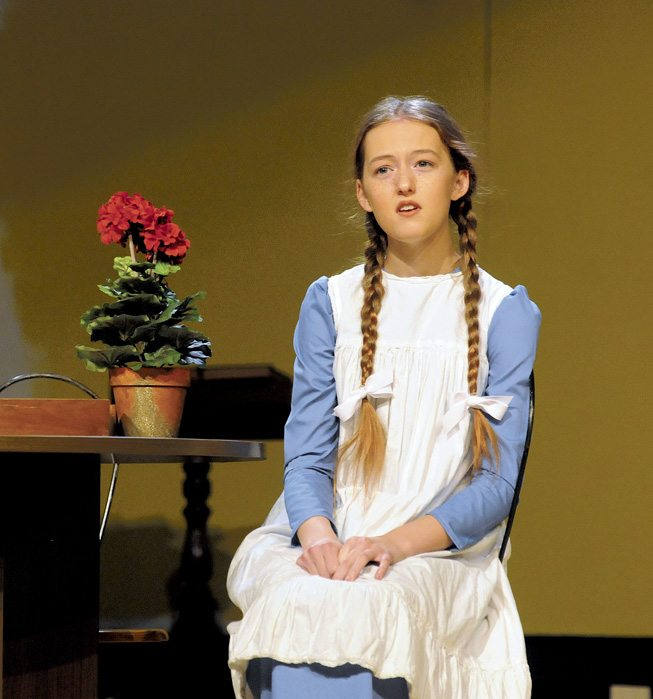 Anne Shirley (Monica Power) in Anne of Green Gables at the SMHS Theatre. (Journal Photo by Ron Agnir)