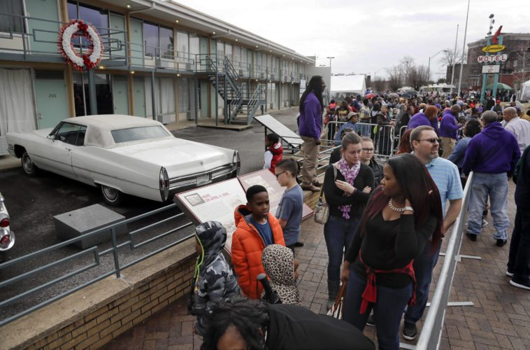 People wait in line to enter the National Civil Rights Museum on Martin Luther King Jr. Day in Memphis, Tenn. The site is among about 130 locations in 14 states being promoted as part of the new U.S. Civil Rights Trail, which organizers hope will boost tourism in the region. (AP Photo)